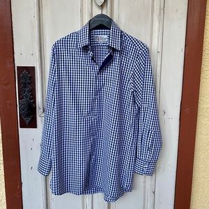 Navy Blue & White Checkered Button Down Shirt